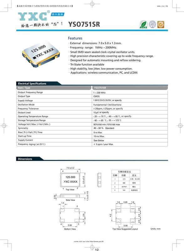YSO752SR有源晶振规格书