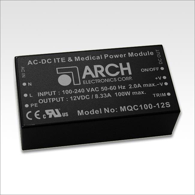 ARCH医疗级开关电源模块MQCS100系列 高效率高达93%