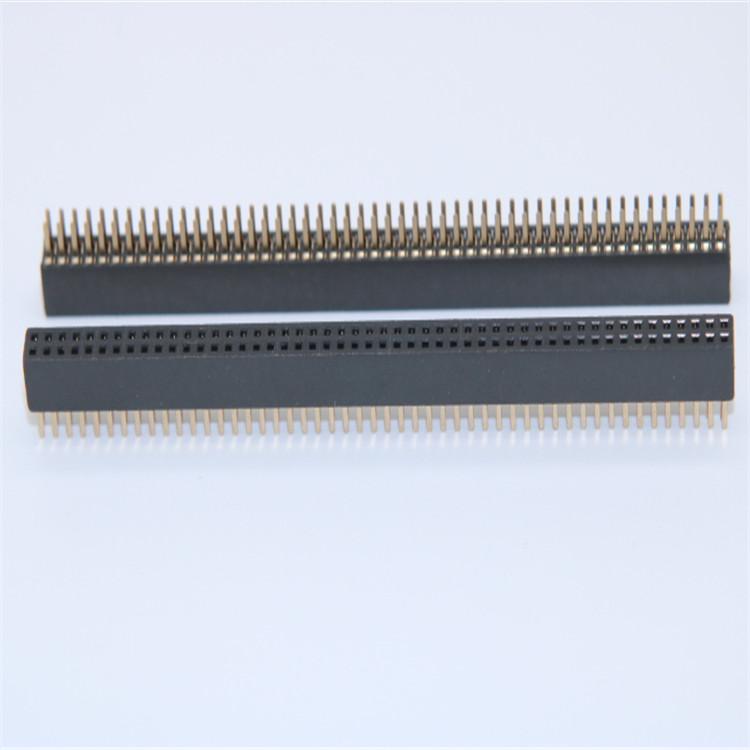 供应1.27mm排母 2*50Pin 4.3H 双排 直插式