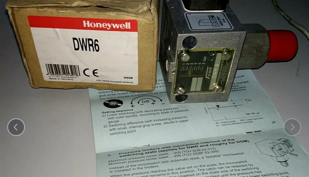 Honeywell霍尼韦尔压力控制器DWR6 0.5~6bar  NG-4347AQ1411  D-71101